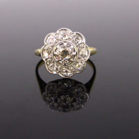 Edwardian Old Cut Diamonds Cluster Ring