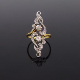 Art Nouveau Diamonds Gold Platinum Ring