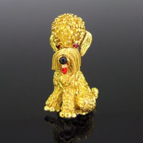Vintage Yellow Gold Poodle Brooch by Espezel