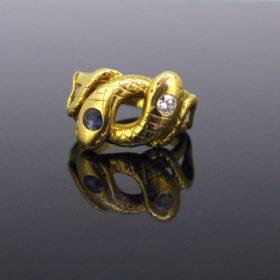 Victorian Sapphire Diamonds Snake Ring