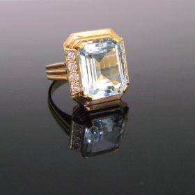 Retro Aquamarine Diamonds Ring
