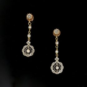 Edwardian Pearl & Rose Cut Diamonds Earrings