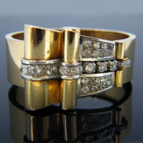 Retro Diamond Yellow Gold and Platinum Bangle