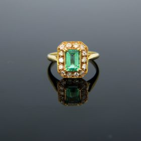 Vintage Emerald & Diamonds Cluster Ring