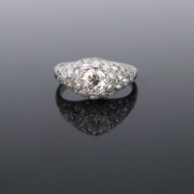 Art Deco Pave Diamond Platinum Ring