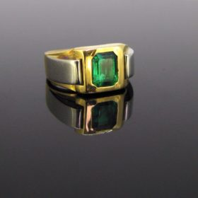 Retro Emerald Gold & Platinum Ring