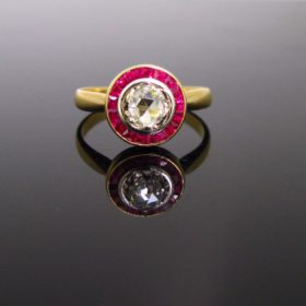 Vintage Rose cut diamond Target Ring