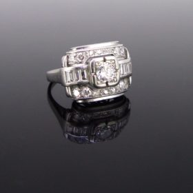 French Art Deco Diamonds Platinum Ring