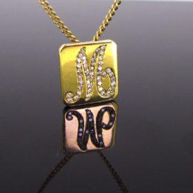 Vintage M initial Diamonds Pendant