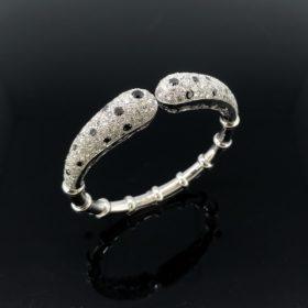 Modern White Black Diamonds Bangle