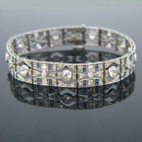 Art Deco Diamonds Sapphire Bracelet