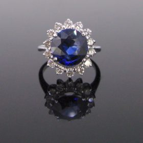 Vintage Sapphire Diamond Cluster Ring,