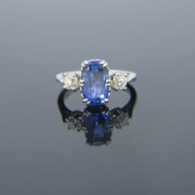 Three Stone Sapphire & Diamonds Platinum Ring