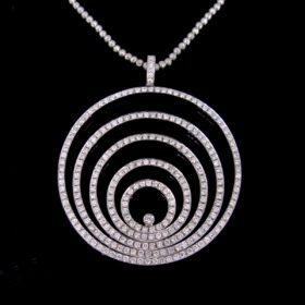Modern Circle Diamonds Pendant Necklace
