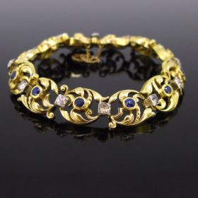 Art Nouveau Sapphires and Diamonds Bracelet
