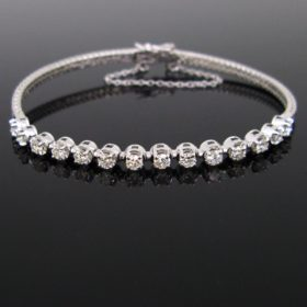 Semi Rigid Brilliant Cut Diamonds Line Bracelet