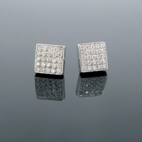 Modern Brilliant Cut Diamonds Square Studs