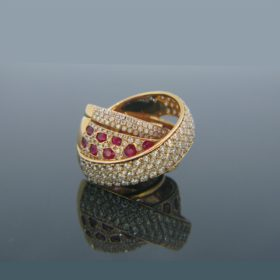 Modern Pave Bombe Diamonds & Ruby Ring