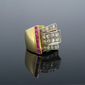 Retro Old Cut Diamonds & Synthetic Rubies Ring