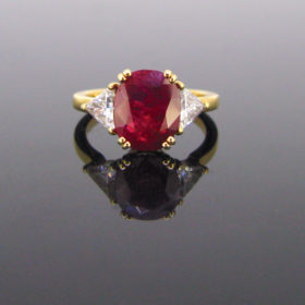 3.03ct Ruby Triangular Cut Diamonds Ring
