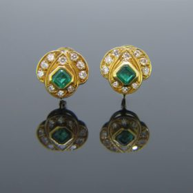 Vintage Emerald and Diamonds Earrings