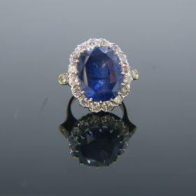 Burma Sapphire Cluster Diamonds Ring