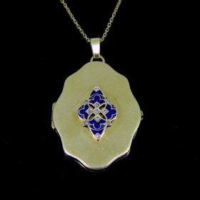 Art Nouveau Blue Enamel Diamonds Locket