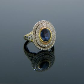 Vintage French Sapphire and Diamonds Ring