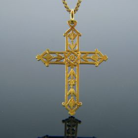 Art Nouveau Cross Yellow Gold Pendant
