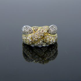 French Vintage Diamonds 2 Gold Ring