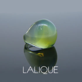 Vintage Lalique Green Crystal Cabochon Ring