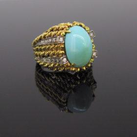 Retro Turquoise Diamond Gold Platinum Ring