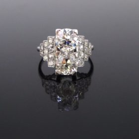 French Art Deco Diamonds Geometric Ring
