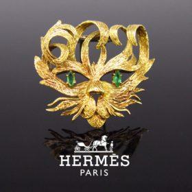 Hermès Mistigri Jean Cocteau Gold Brooch