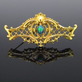 Antique Art Nouveau Black Opal Brooch