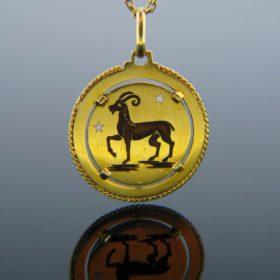 Vintage Aries Belier Enamel Pendant