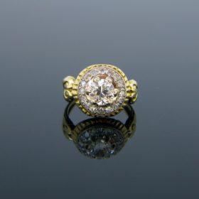 Old European Cut Diamond Yellow Gold Ring