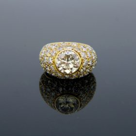 Vintage 1.85t Diamond Pave Bombe Ring
