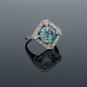 Art Deco Blue Zircon Diamonds Platinum Ring