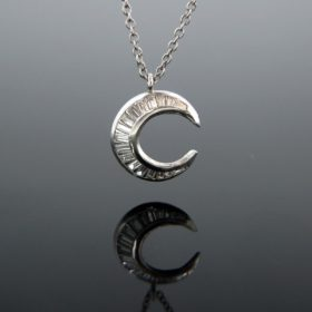 Crescent Diamonds Pendant Gold Necklace