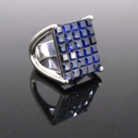 Pave Mystery Set Sapphires Gold Ring