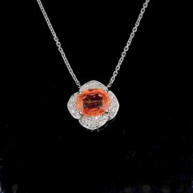 Orange Sapphire Diamonds Necklace