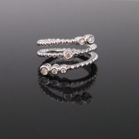 Spiral Granulated Diamonds Gold Ring