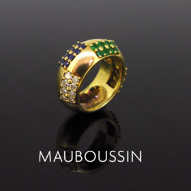 Diamonds Emerald Sapphires Band Ring