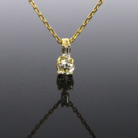 Round & Baguette Diamonds Necklace
