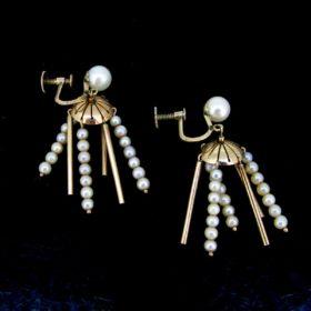 Antique Victorian Pearls Screw Back Earrings