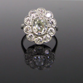 Edwardian 1.60ct Cushion Cut Diamond Cluster Ring