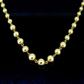Retro Graduated Yellow Gold Beaded Necklace