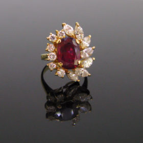 3.5ct Ruby Diamonds Cluster Ring