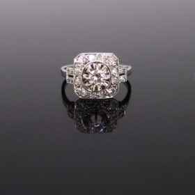French Art Deco Diamonds Platinum Ring